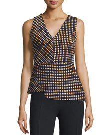 Optical Texture V-Neck Top, Multicolor
