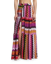 Metallic-Knit Zigzag Printed Maxi Skirt, Multi