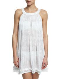 Tonal-Chevron Babydoll Coverup Dress