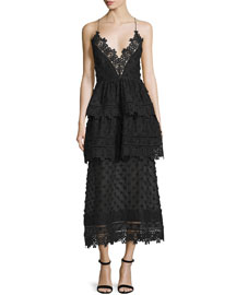 Sleeveless Lace-Trim Polka-Dot Midi Dress, Black