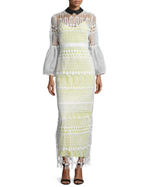 Long-Sleeve Art Deco Lace Maxi Dress, White