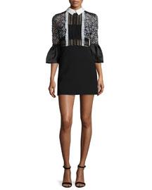 Collared Bell-Sleeve Mini Dress, Black/White