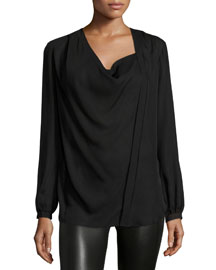 Silk Cowl-Neck Blouse, Black