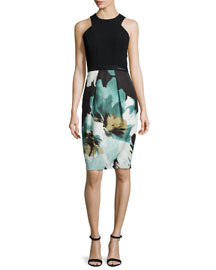 Sleeveless Printed Cocktail Dress W/ Lace Hem