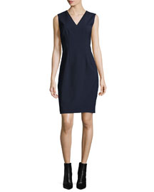 Gwenyth Sleeveless V-Neck Sheath Dress, Navy