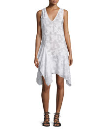 Sleeveless Embroidered Asymmetric Dress, Soft White
