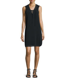 Sleeveless Lace-Up Tank Dress, Black