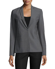 Darcy One-Button Jacket, Gray Melange