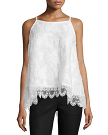 Sleeveless Silk Lace-Hem Top, Soft White