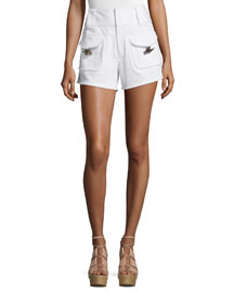 High-Rise Stretch Denim Toggle-Pocket Shorts, White