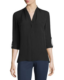 Anabella Silk Tabbed-Sleeve Blouse