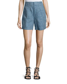High-Rise Linen Chambray Shorts, Denim