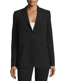Laurent Boxy Crepe Blazer, Black