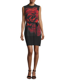 Sleeveless Rose Tunic Dress, Black