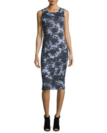 Sleeveless Floral Trompe l'Oeil Jersey Dress