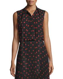 Sleeveless Woven Polka-Dot Blouse, Red/Black