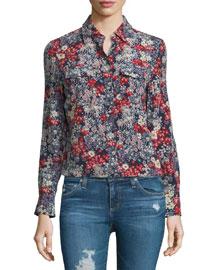 Sutton Long-Sleeve Floral-Print Shirt, Efflorescent Silk