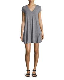 The V-Neck Trapeze Dress, Heather Grey
