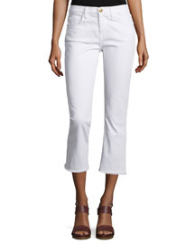 The Kick Slim-Fit Cropped Jeans, Sugar W/Raw Hem