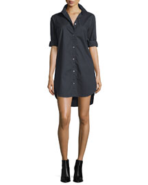 Le Poplin Button-Front Shirtdress, Noir