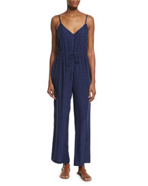 Le Wide Leg Silk Jumpsuit, Navy Dot