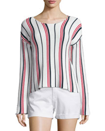 Le Cropped Long-Sleeve Striped Top, Vertical Stripe