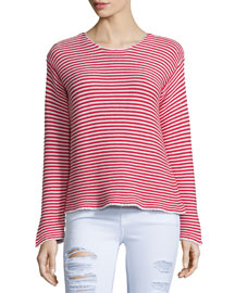 Le Cropped Jewel-Neck Striped Top, Red Stripe