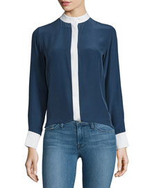 Le Classic Two-Tone Silk Blouse, Navy