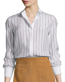 Le Classic Button-Front Striped Blouse, Navy/Red Stripe