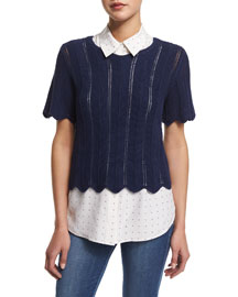 Le Crochet Short-Sleeve Boxy Top, Navy