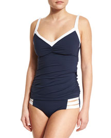 Block Party DD Cup Singlet Swim Top, Indigo