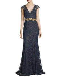 Cap-Sleeve Metallic Lace Gown