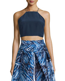 Sleeveless Square-Neck Crop Top, Navy