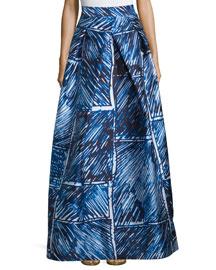 Full Abstract Printed Ball Skirt, Blue