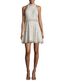 Hollie Embellished Fit-&-Flare Dress, Off White