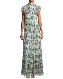 Arwen Short-Sleeve Embroidered Gown