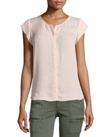Iva Cap-Sleeve Silk Top