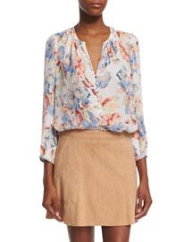 Lennix Floral-Print Silk Top