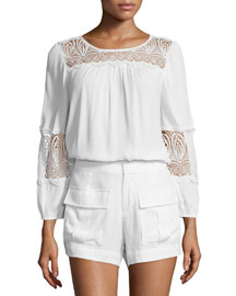 Coastal Embroidered-Lace Top