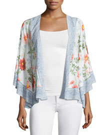 Cammie Floral-Print Open Cardigan