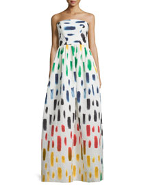 Strapless Brushstroke-Print Ball Gown, Multi Colors