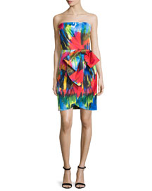 Strapless Printed Cocktail Dress W/Bow, Cobalt