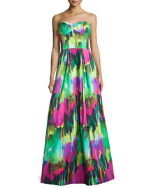 Strapless Sweetheart-Neck Printed Gown, Emerald