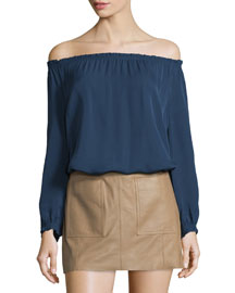 Bamboo Off-The-Shoulder Silk Top