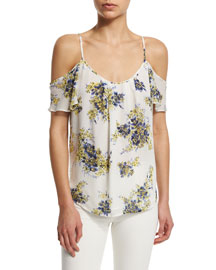 Adorlee B Cold-Shoulder Floral-Print Silk Top