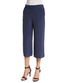 Genesa Straight-Leg Cropped Pants, Dark Navy