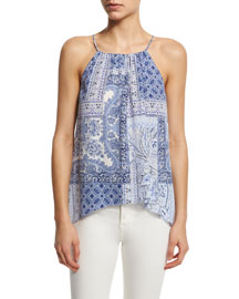 Amite Patchwork Paisley-Print Silk Top