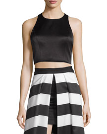 Tru Sleeveless Structured Crop Top, Black