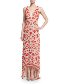 Juela Cutout High-Low Gown, Nude/Poppy