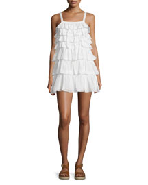Melanite Tiered Ruffle Dress, Porcelain